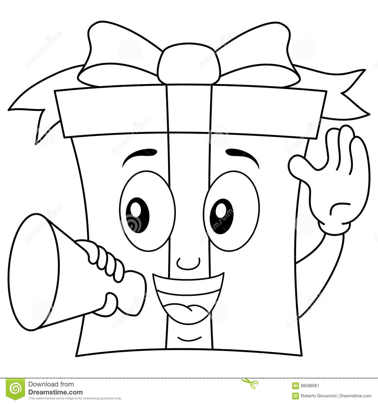 Coloring T Character With Megaphone Stock Vector