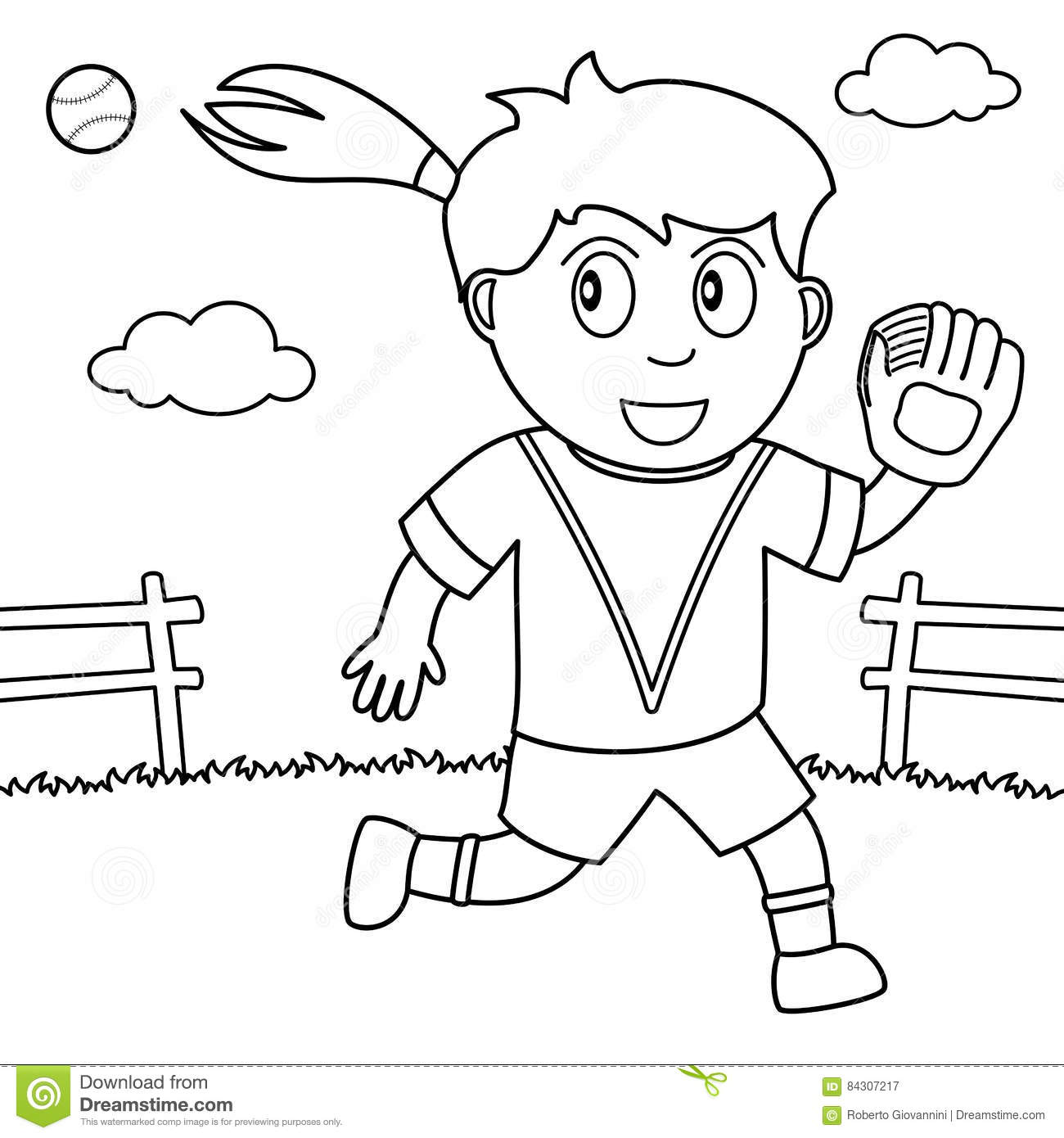 Coloring Girl Playing Softball In The Park Stock Vector