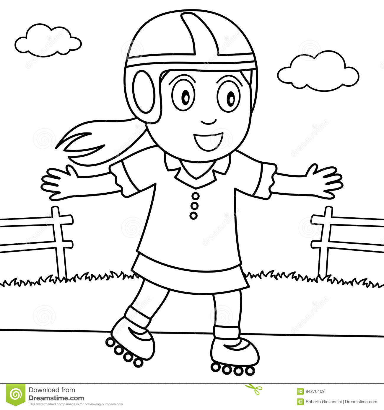 Coloring Girl With Rollerblade In The Park Stock Vector