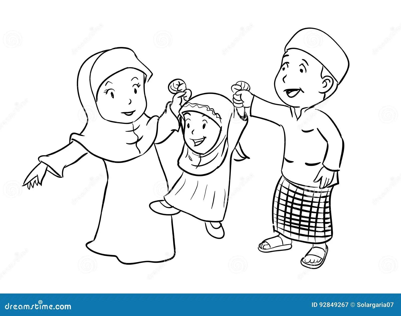 Coloring Happy Muslim Family