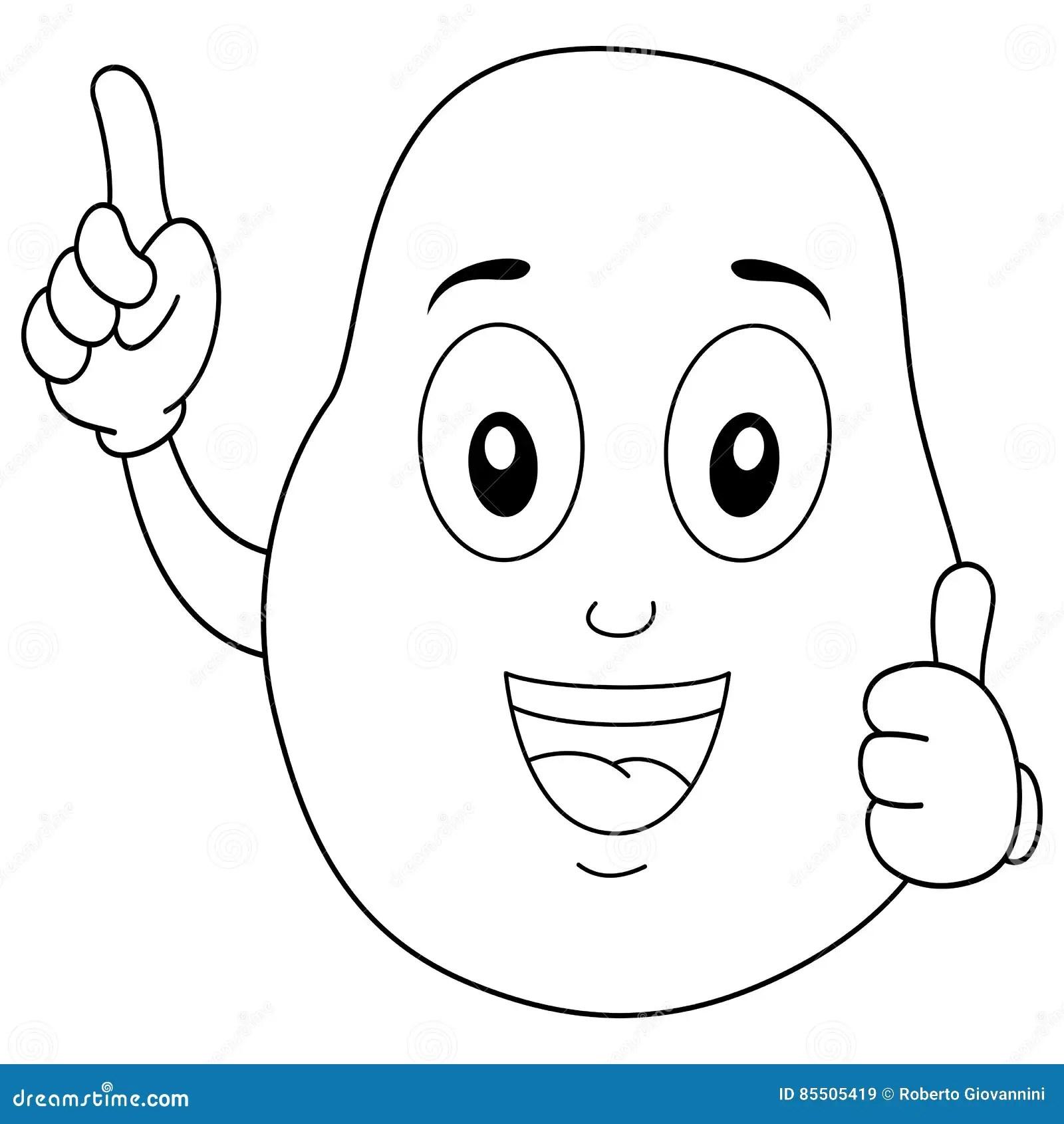 Coloring Happy Potato Cartoon Character Stock Vector