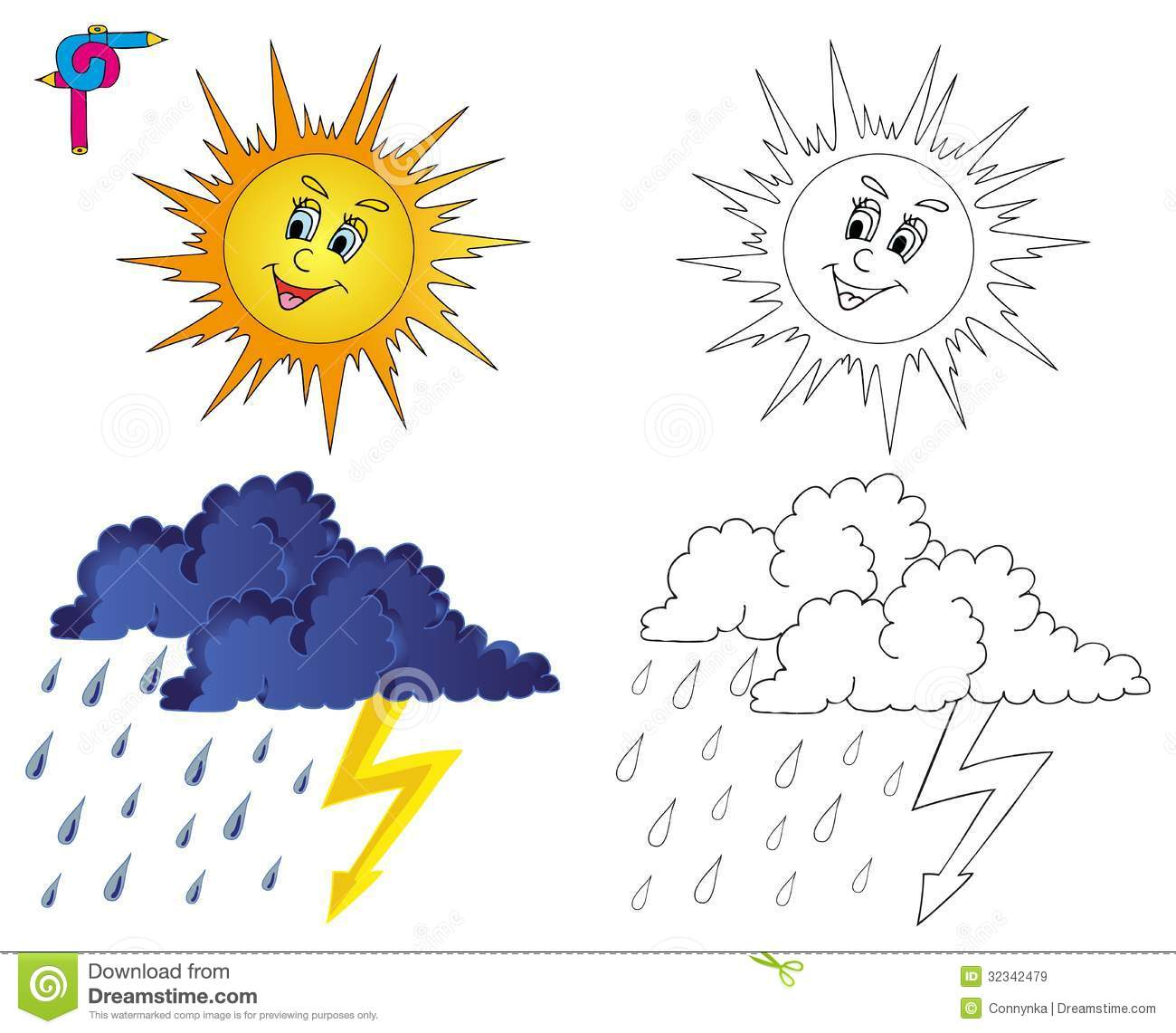 Coloring Image Weather 3 Royalty Free Stock Images