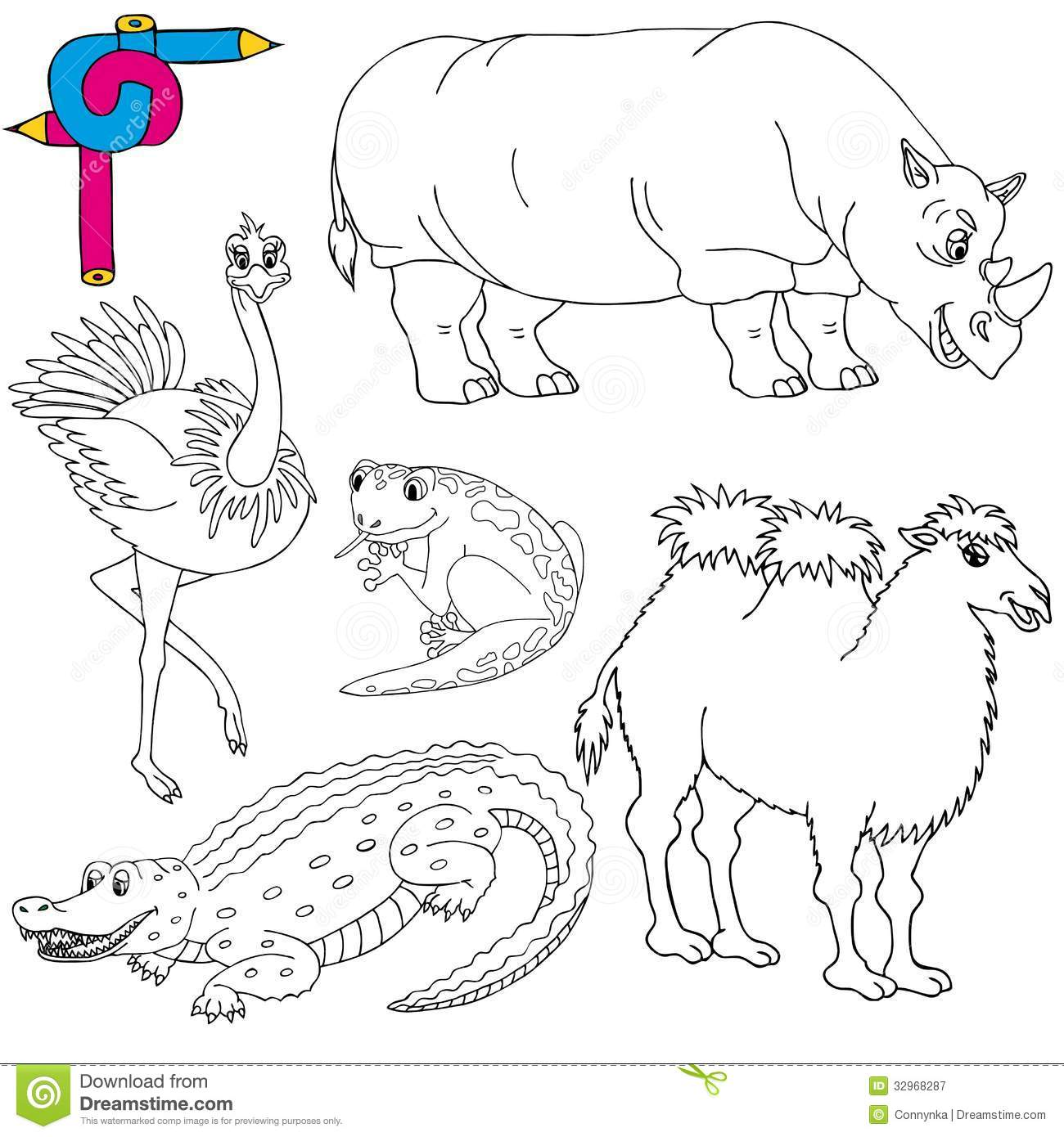 Coloring Image Wild Animals 02 Stock Vector
