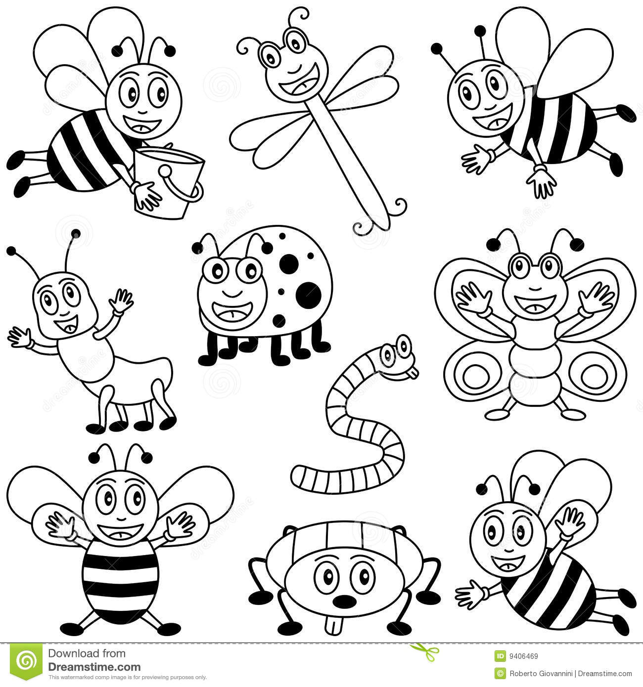 Coloring Insects For Kids Stock Vector Illustration Of