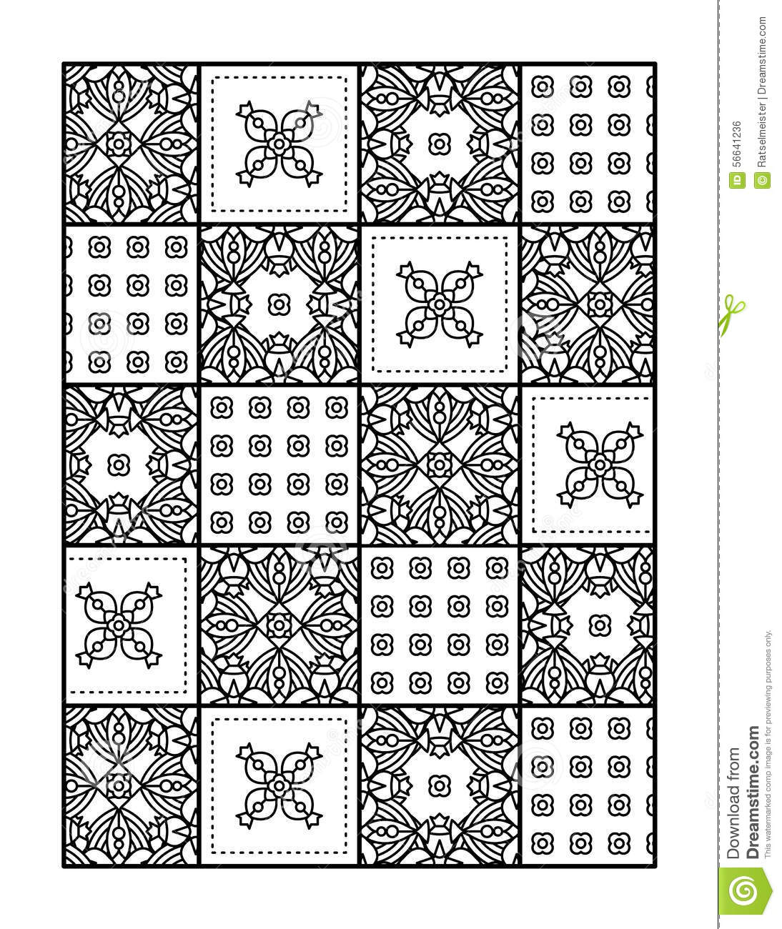 Coloring Page For Adults Or Black And White Ornamental Background Stock Vector