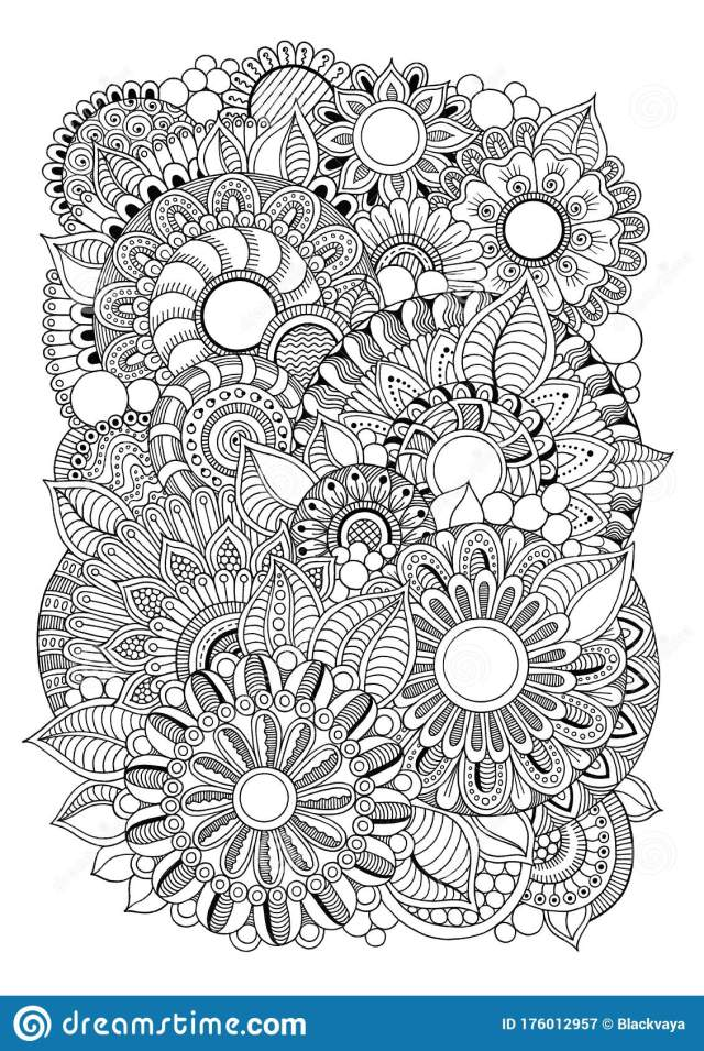 Coloring Page for Adults Magic Flowers, Handmade Doodle Graphic