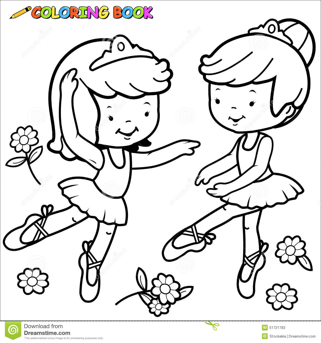 Coloring Page Ballerina Girls Dancing Stock Vector