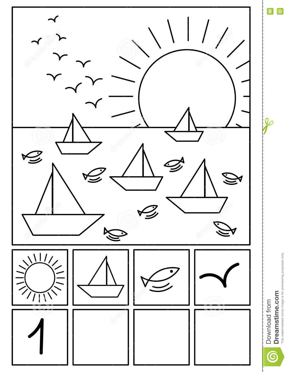 Coloring Page Beach Math Game Stock Illustration Illustration Of