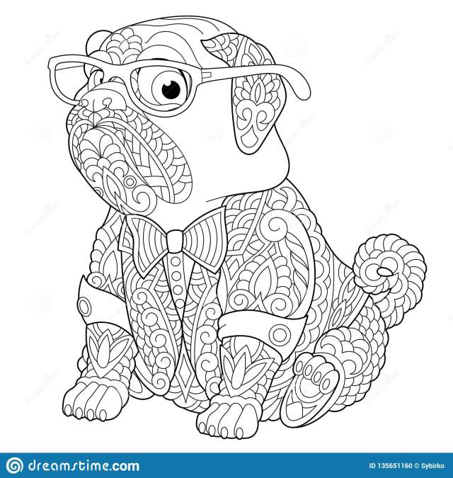 Zentangle Pug Dog Coloring Page Stock Vector - Illustration of