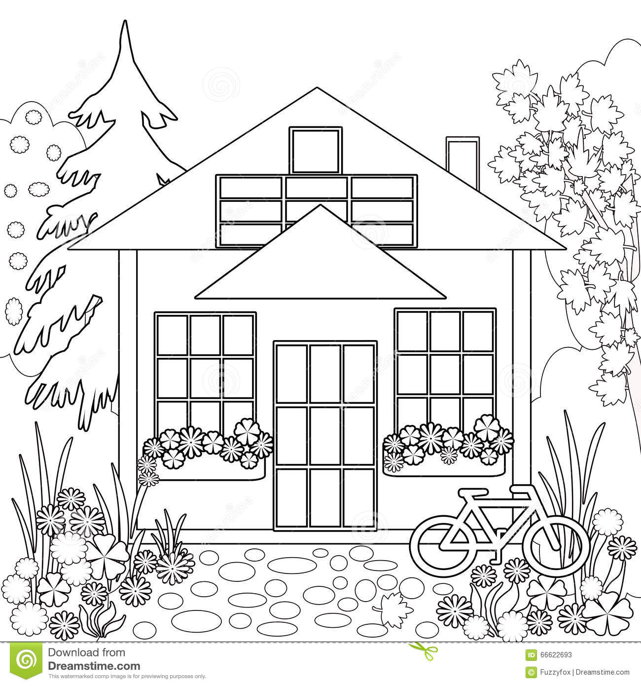 Coloring Page Book Garden Floral Illustration Black And