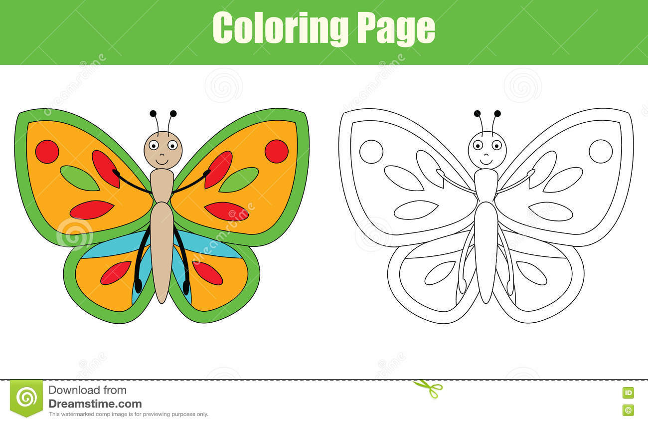 Coloring Page With Butterfly Kids Activity Stock Vector