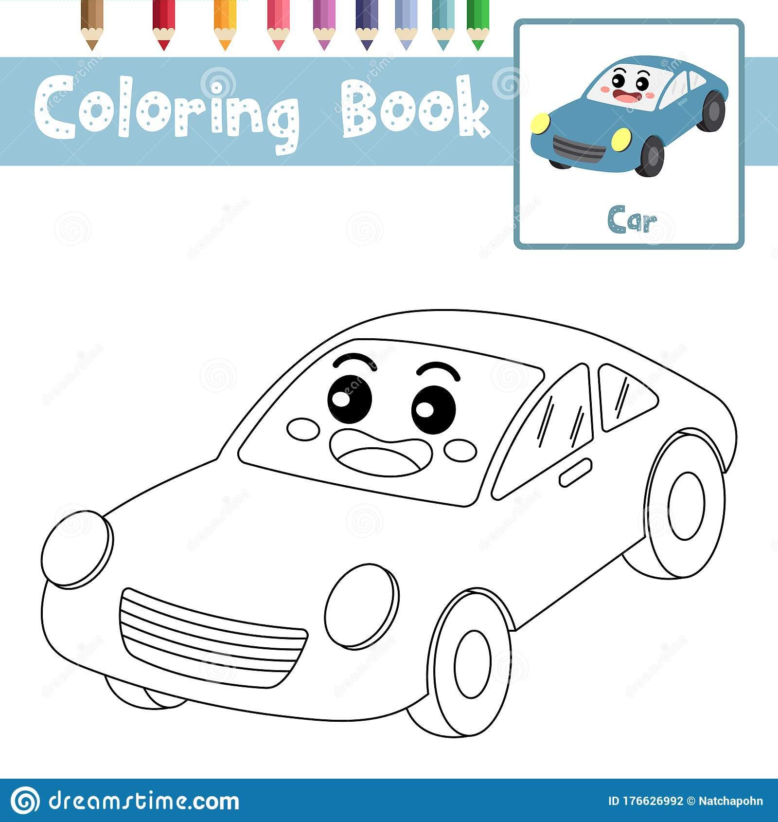 Coloring Page Car Cartoon Character Perspective View