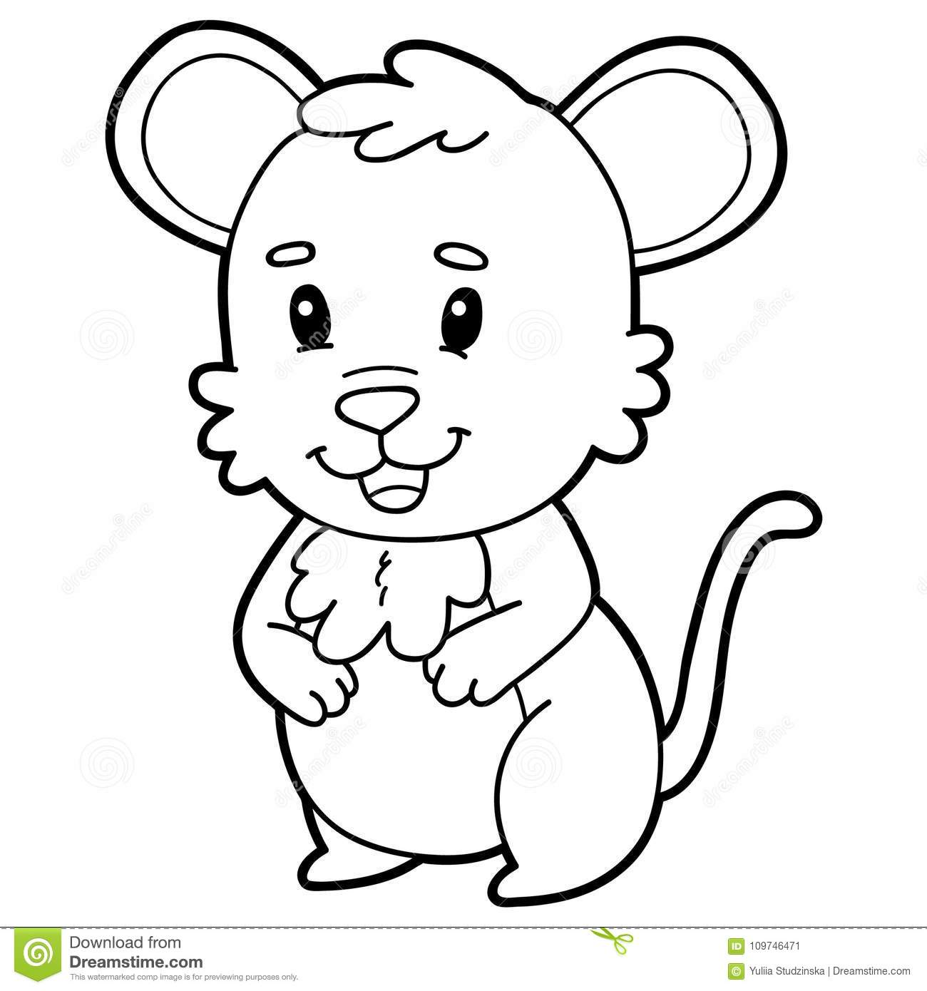 Coloring Page Cartoon Mouse Stock Vector