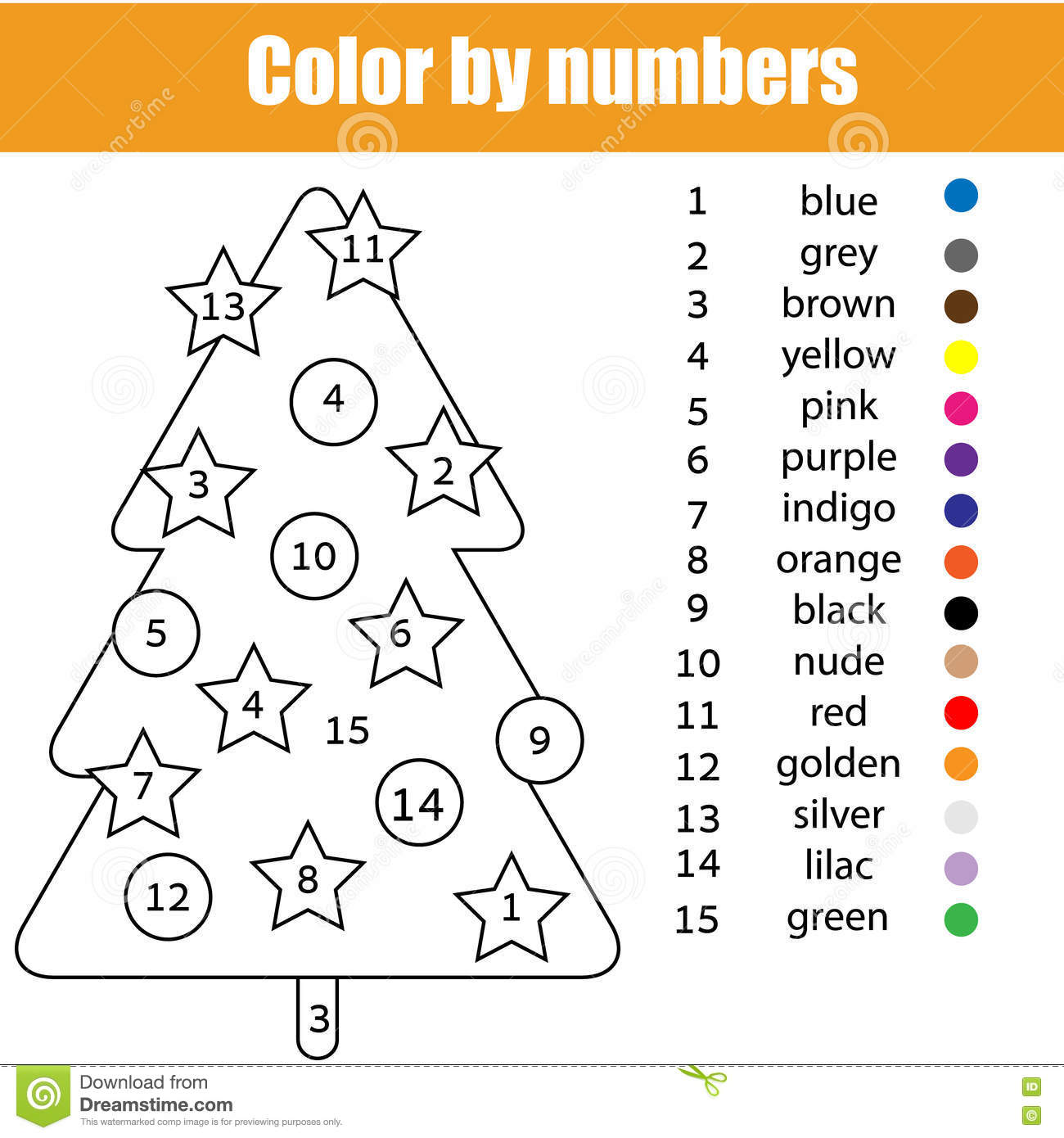 coloring page with christmas tree color by numbers task printable