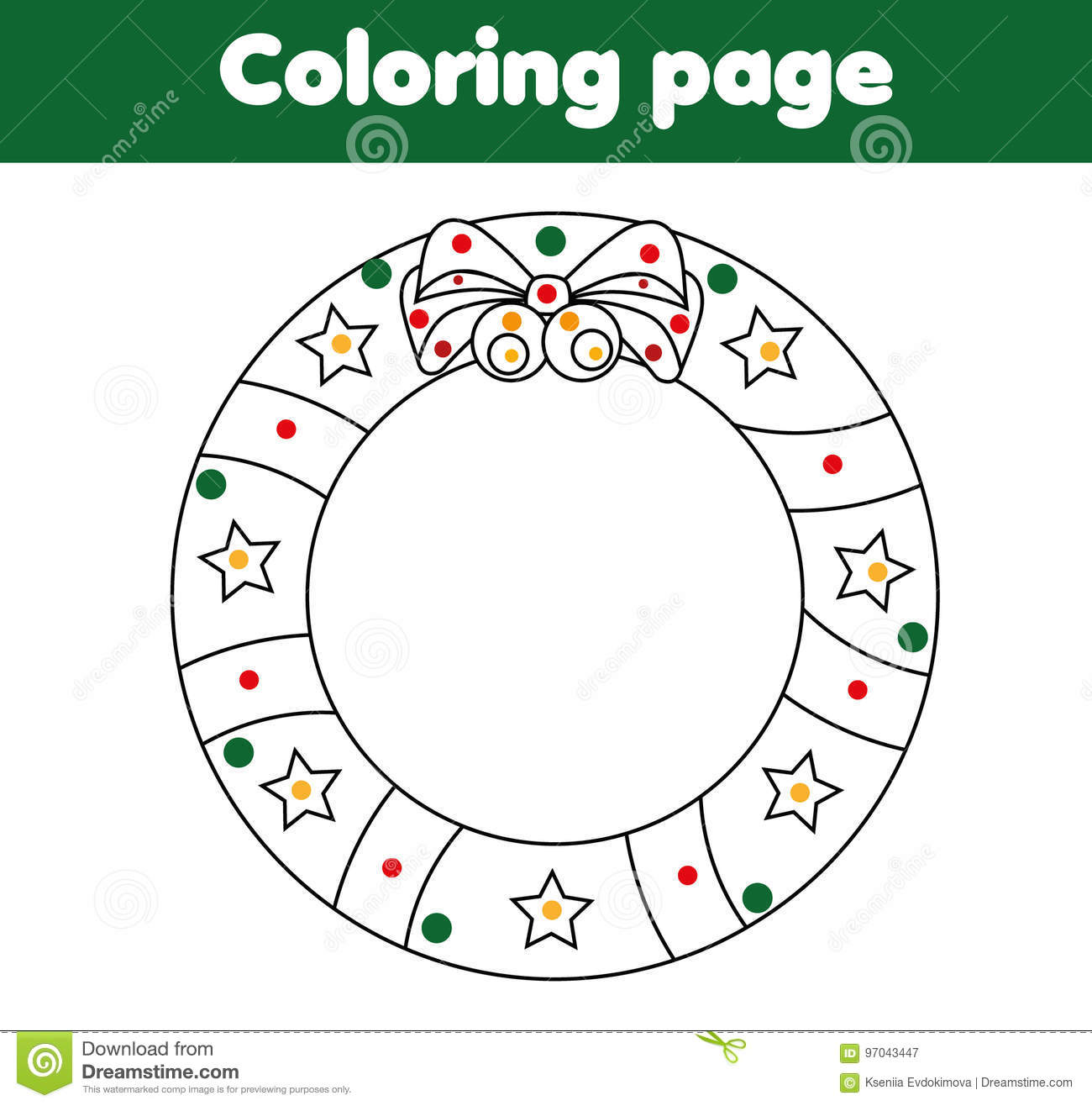 Coloring Page With Christmas Wreath Educational Game
