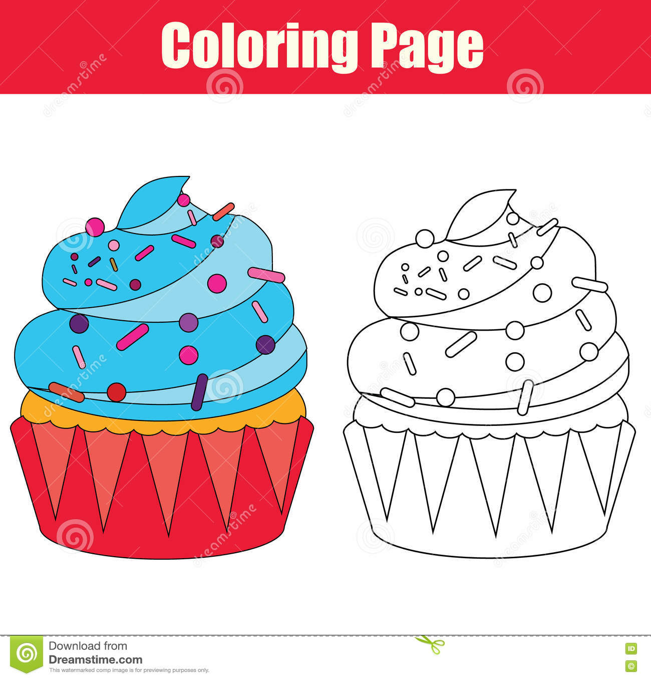 Coloring Page With Cupcake Stock Vector Illustration Of