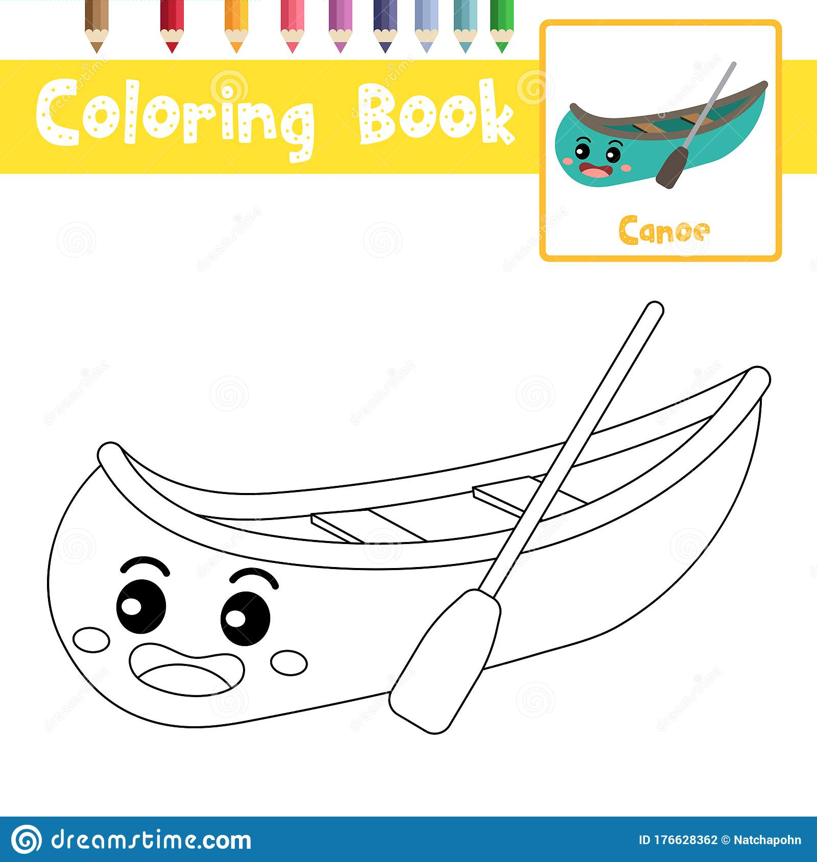 Coloring Page Canoe Cartoon Character Perspective View