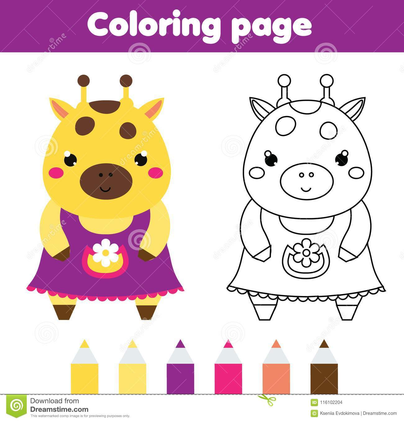 Coloring Page With Cute Giraffe Drawing Kids Activity
