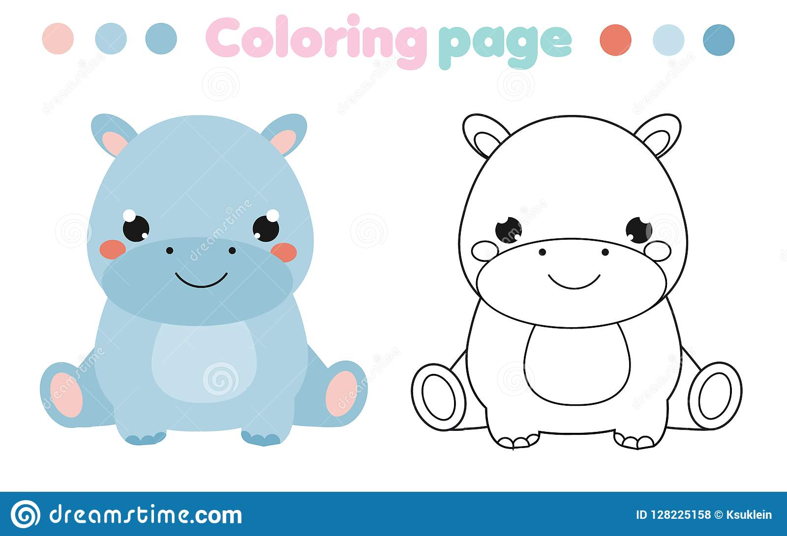 Coloring Page With Cute Hippo Drawing Kids Activity Printable Toddlers Fun Stock Vector Illustration Of Hobby Babies 128225158