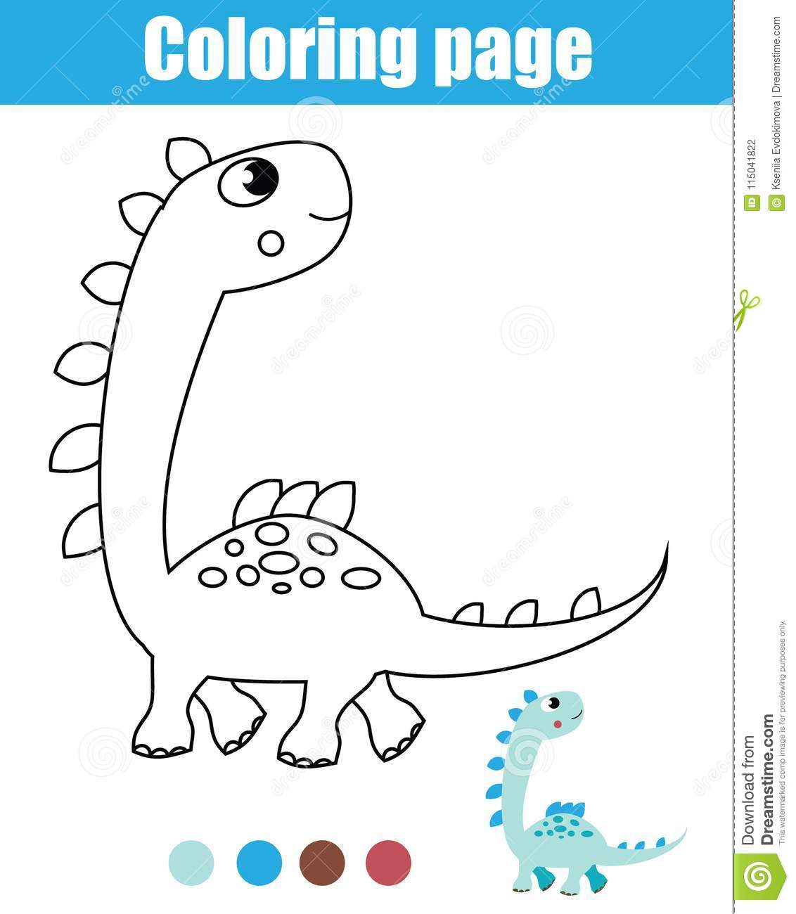 Coloring Page With Dinosaur Drawing Kids Activity