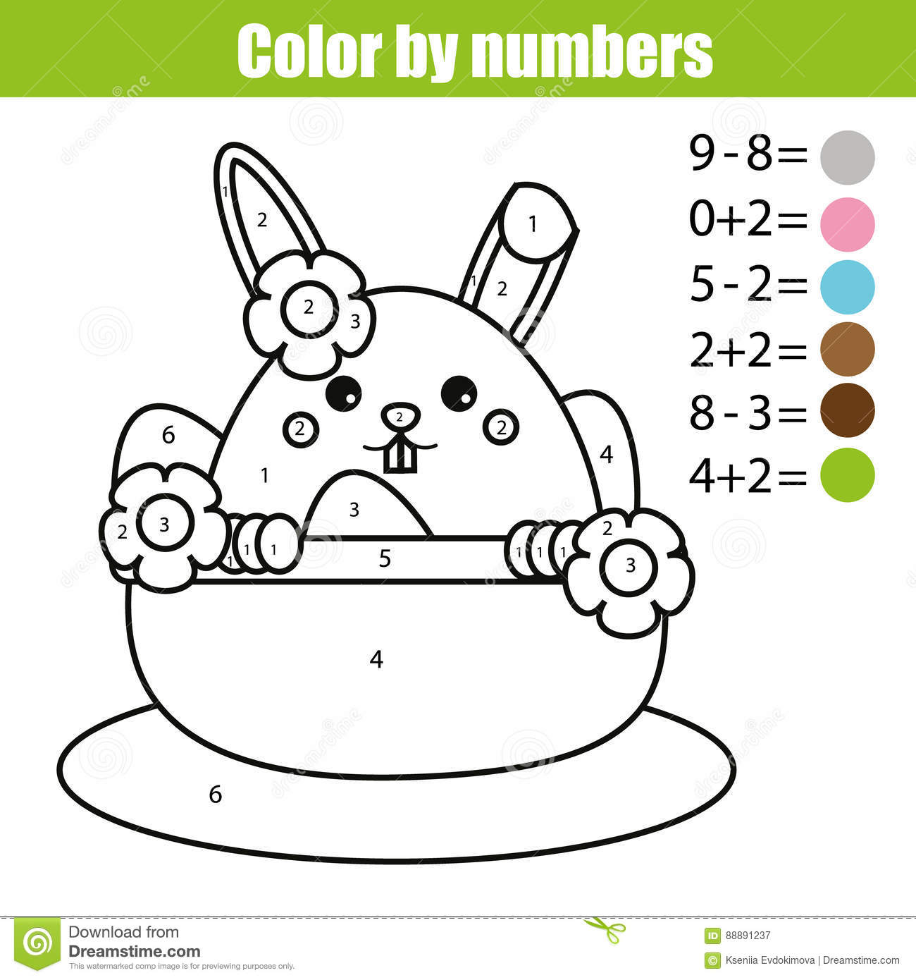Coloring Page With Easter Bunny Character Color By Numbers Math Educational Children Game