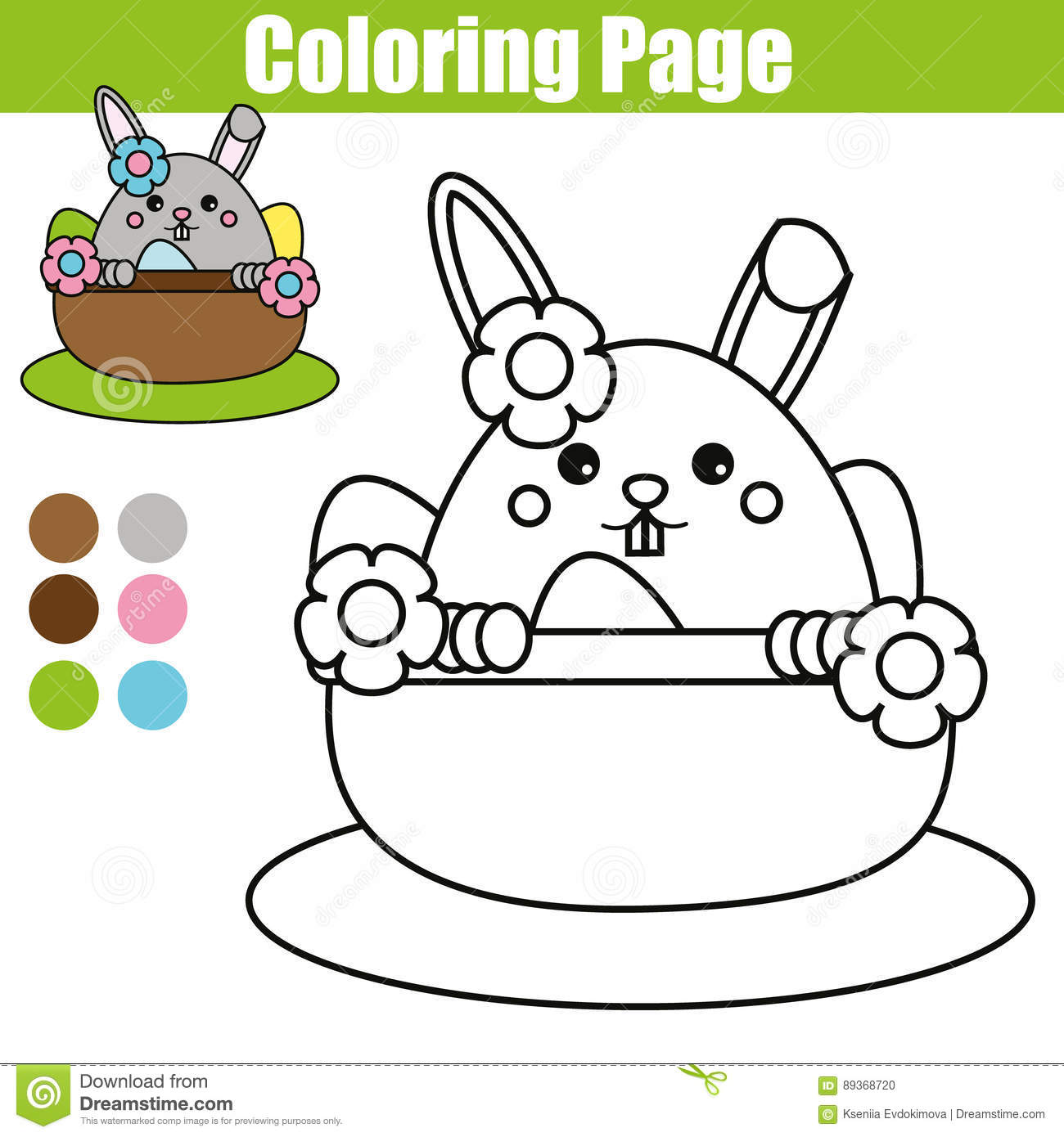 Coloring Page With Easter Bunny Character Printable Worksheet Educational Children Game