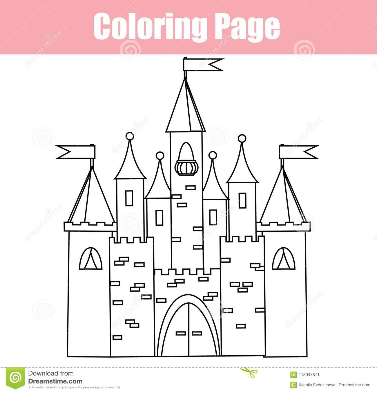 Coloring Page Educational Children Game Fairy Castle