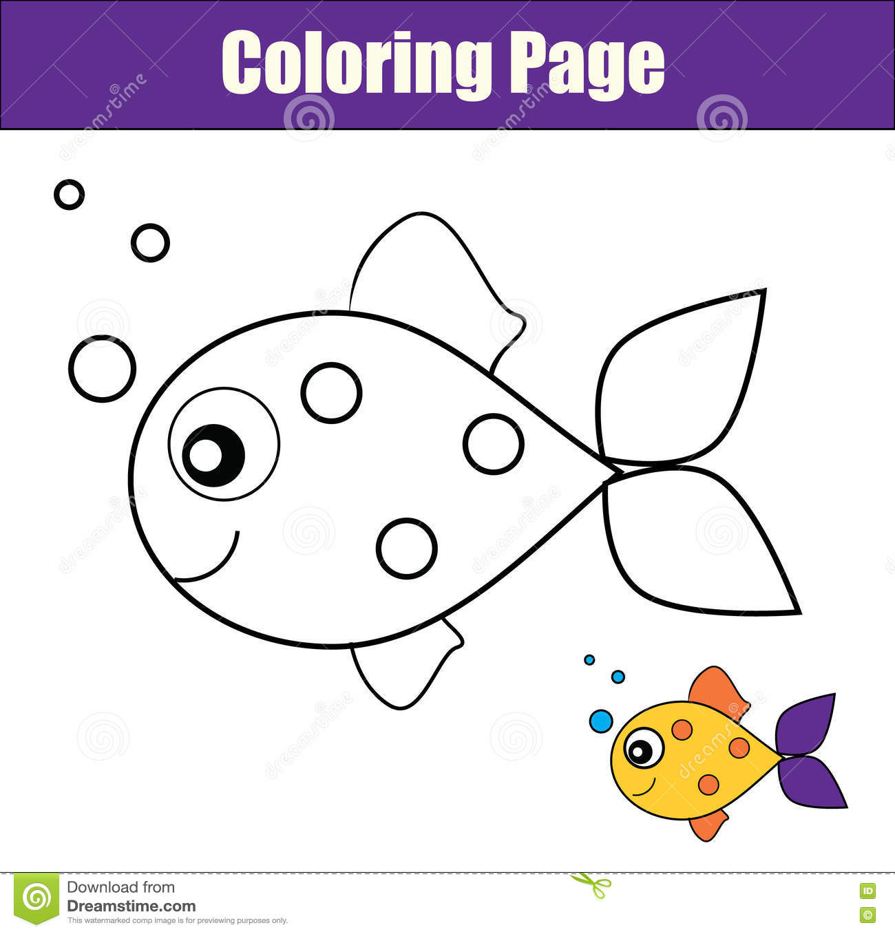 Coloring Page With Fish Educational Game Printable
