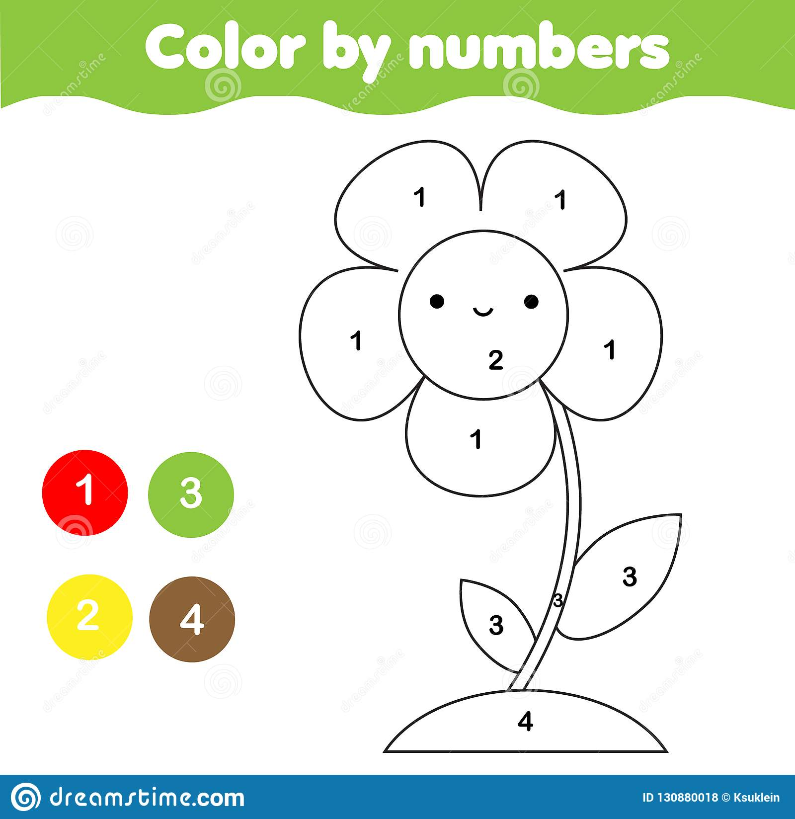 Coloring Page With Flower Color By Numbers Printable Activity For Kids And Children Elementary