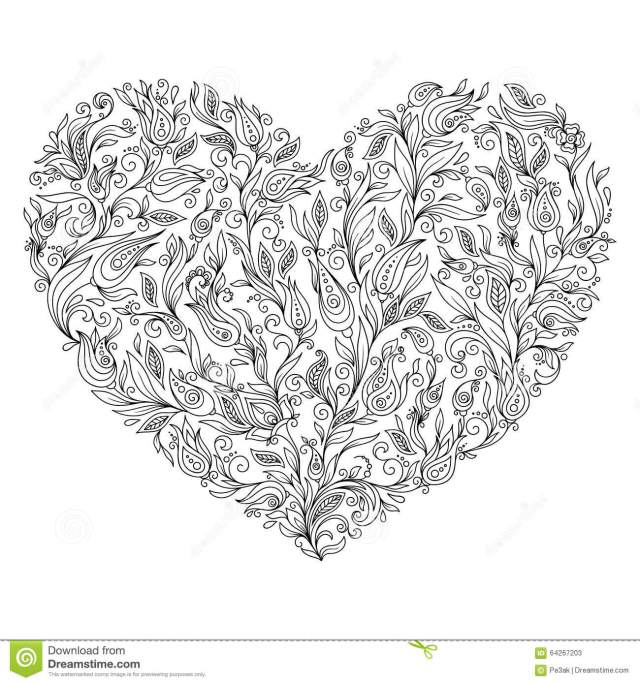 Coloring Page Flower Heart St Valentine S Day Greeting Card Stock