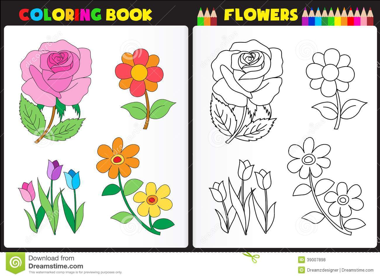 book page for kids with colorful flowers and sketches to color