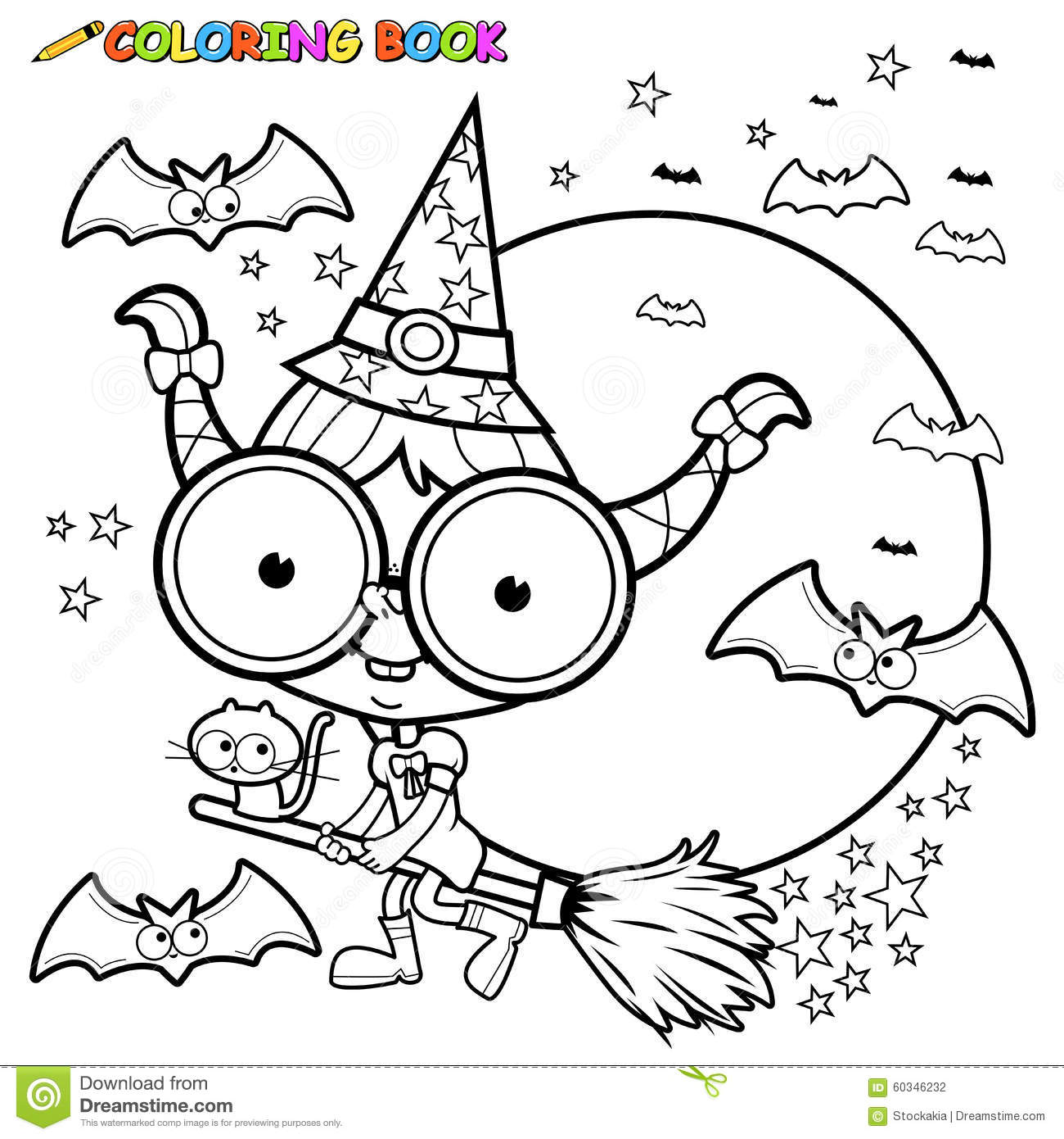 Coloring Page Halloween Witch Flying With Broom Stock