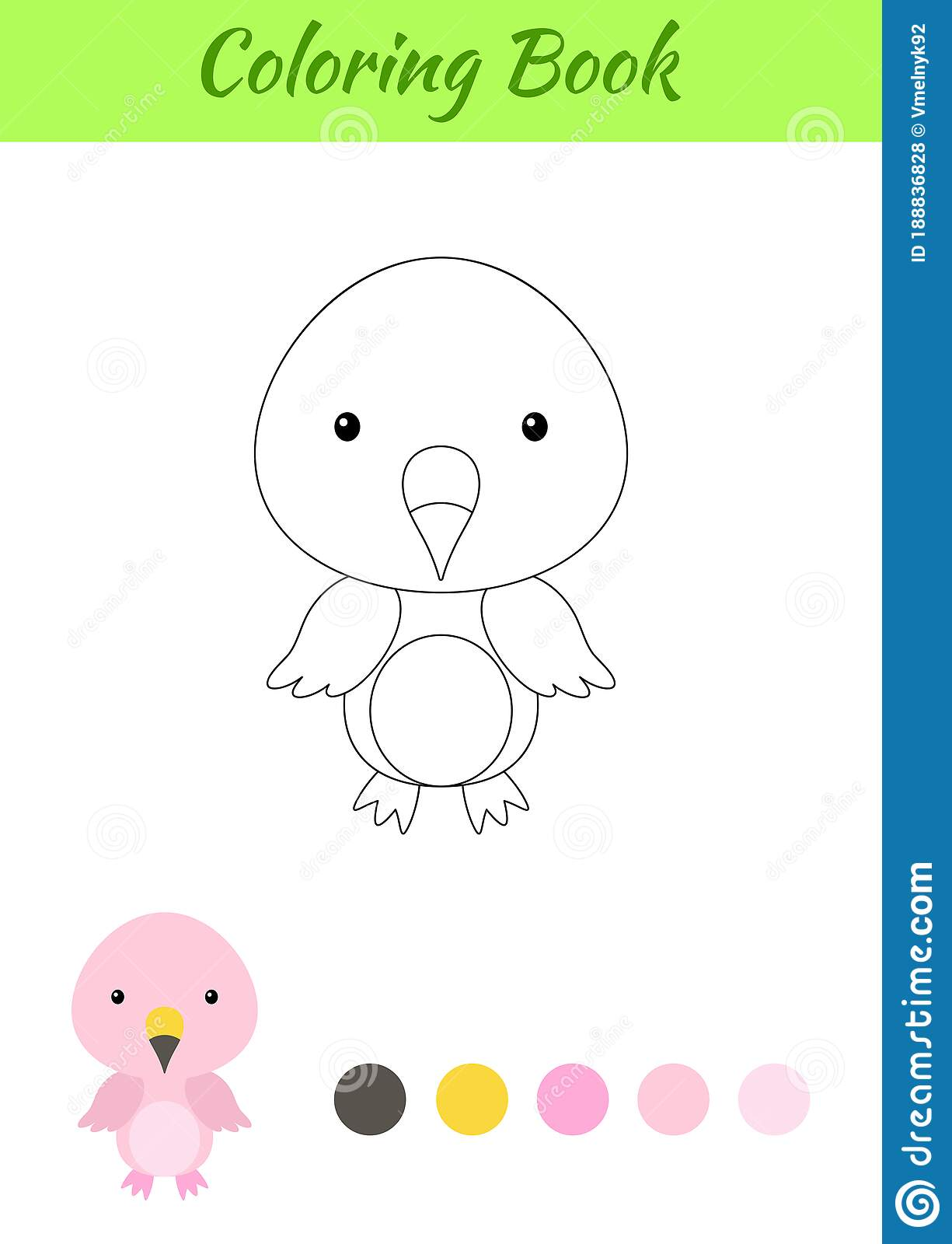Coloring Page Happy Little Baby Flamingo Printable