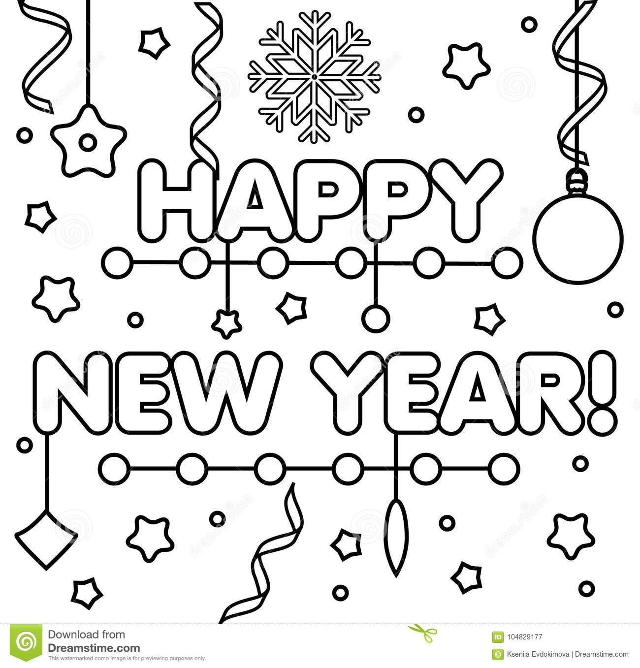 Coloring Page With Happy New Year Text Drawing Kids Game
