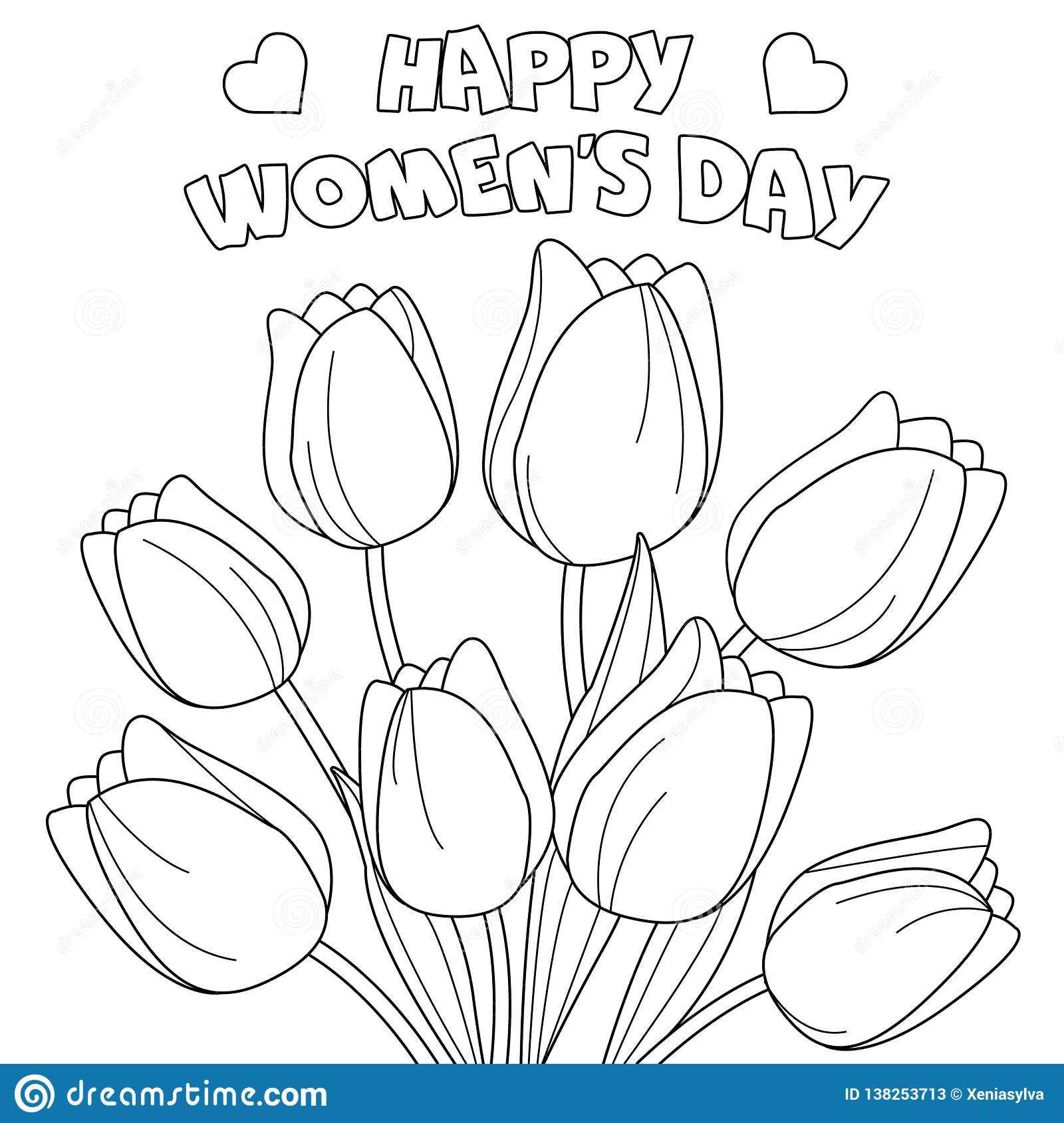 Coloring Page Happy Women S Day Stock Vector