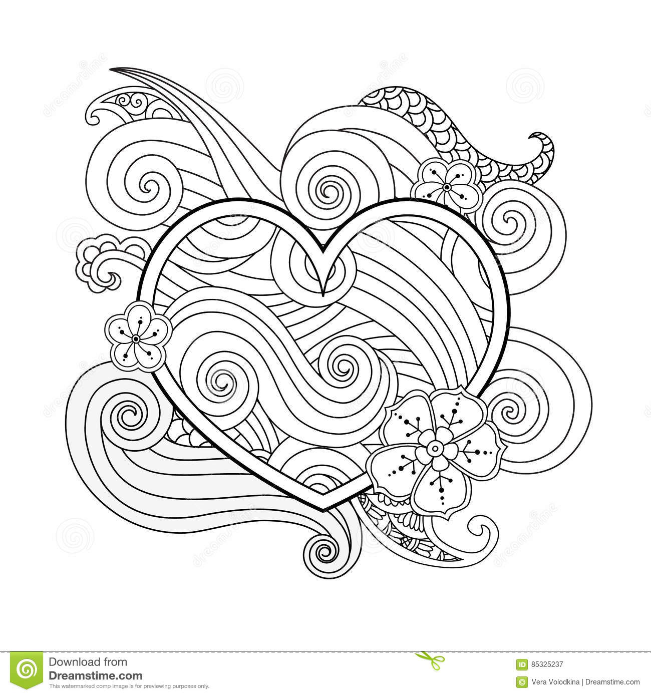 Coloring Page With Heart And Abstract Element Isolated