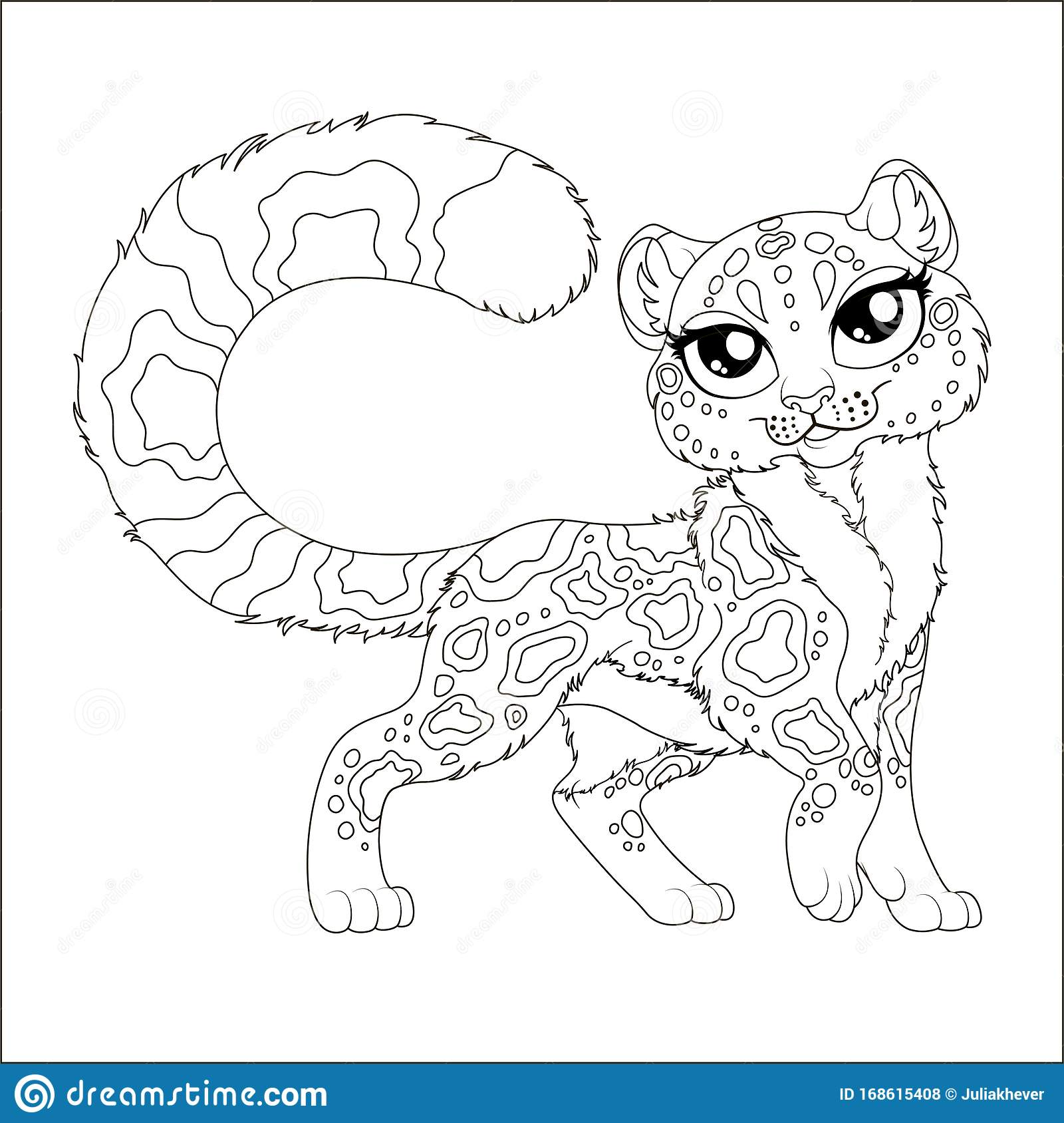 Coloring Page For Kids With Charming Cartoon Irbis Stock Vector Illustration Of Book Colour 168615408