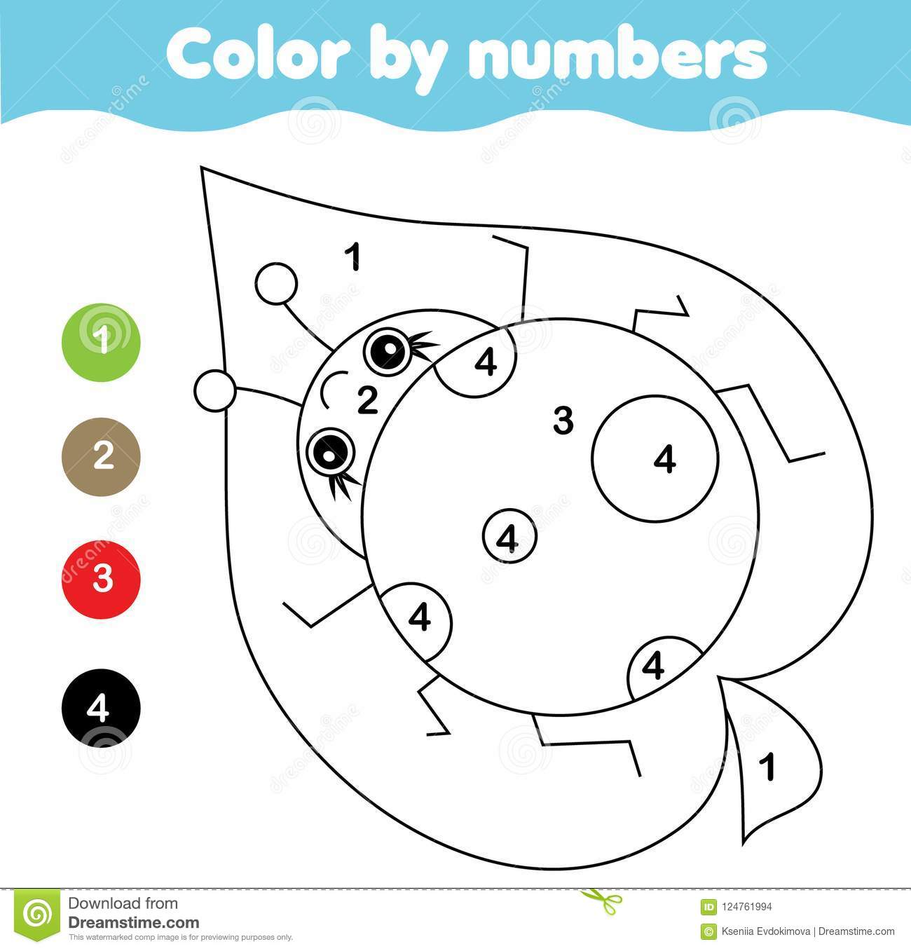 Coloring Page With Ladybug Color By Numbers Printable