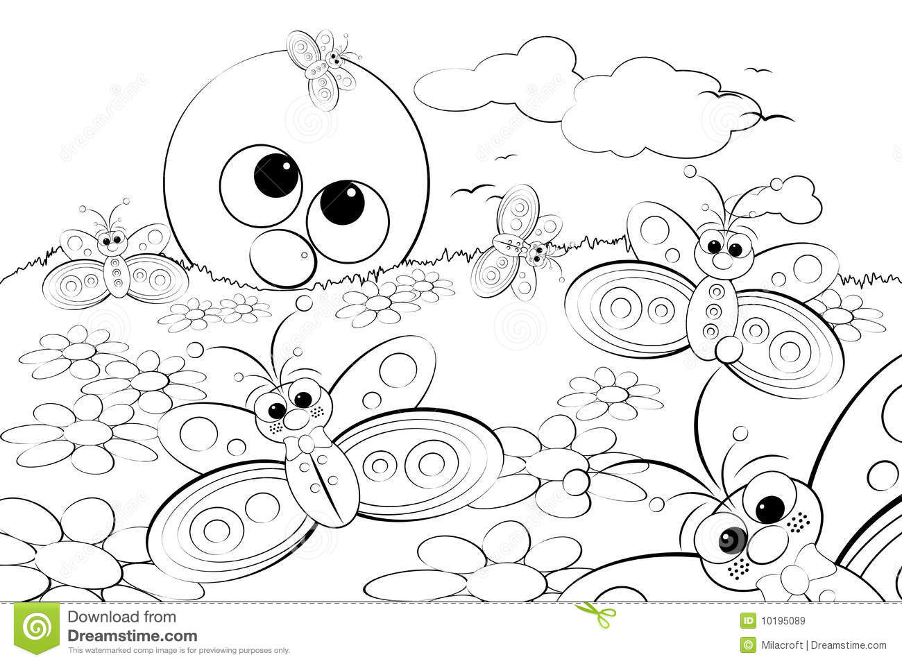 Coloring Page Landscape With Sun And Butterflies Stock Vector