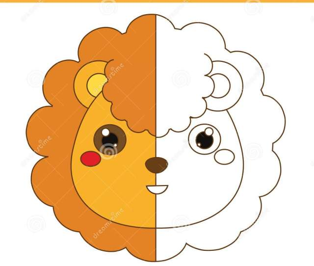 Coloring Page With Lion Drawing Kids Game Printable Activity