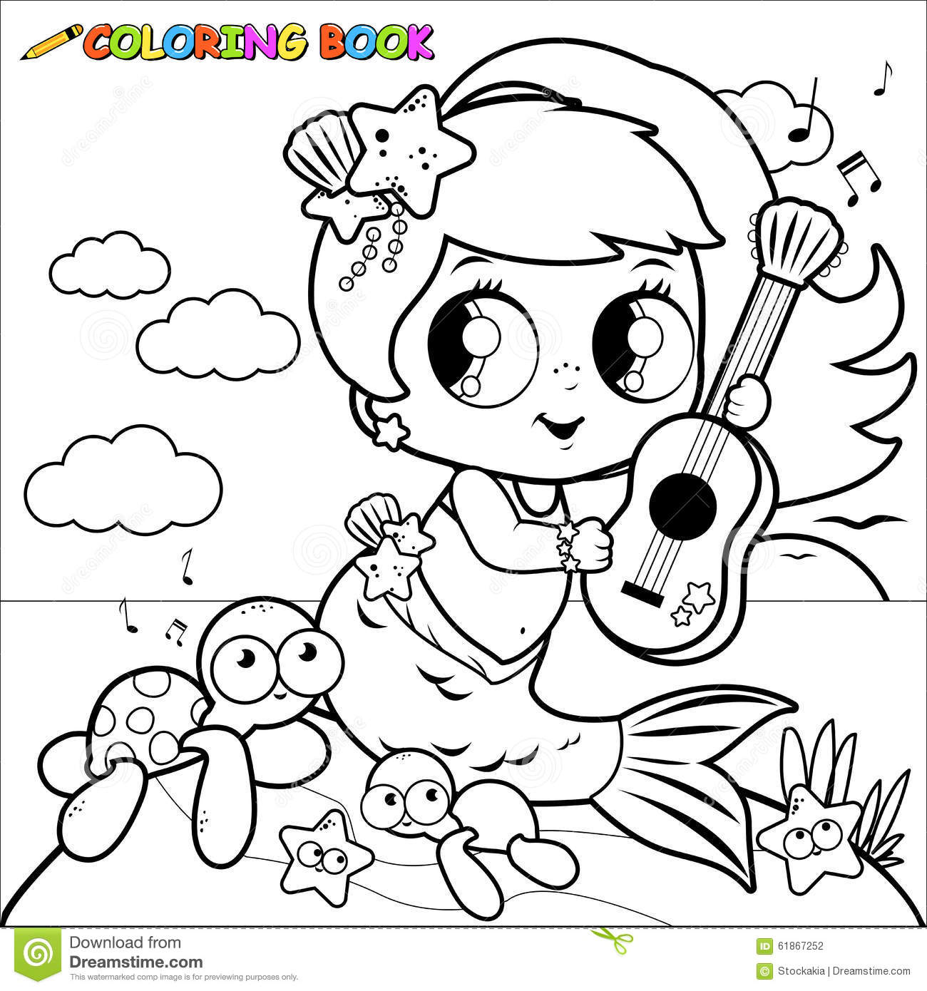 Coloring Page Mermaid By The Sea Cartoon Vector