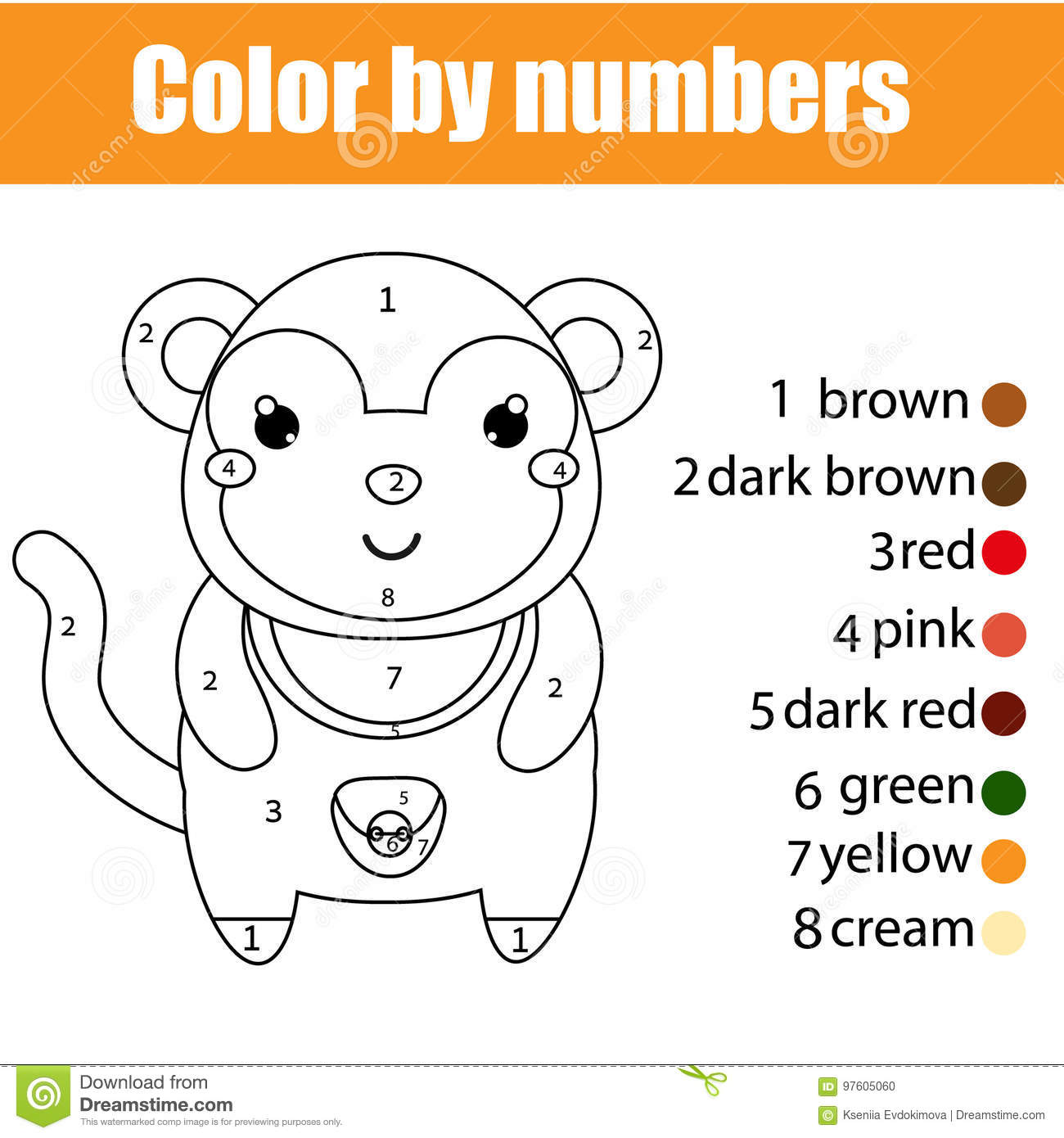 Coloring Page With Monkey Color By Numbers Educational