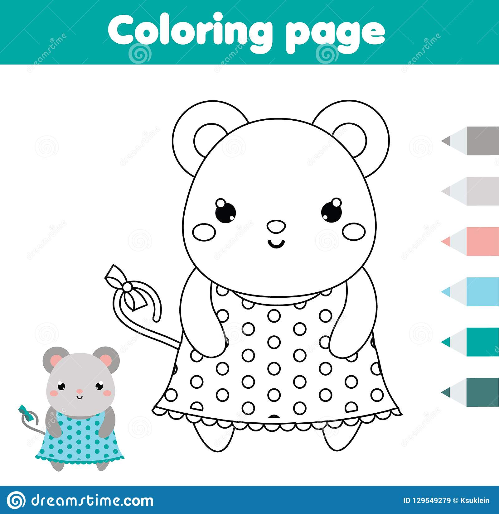 Coloring Page With Mouse Drawing Kids Activity Printable