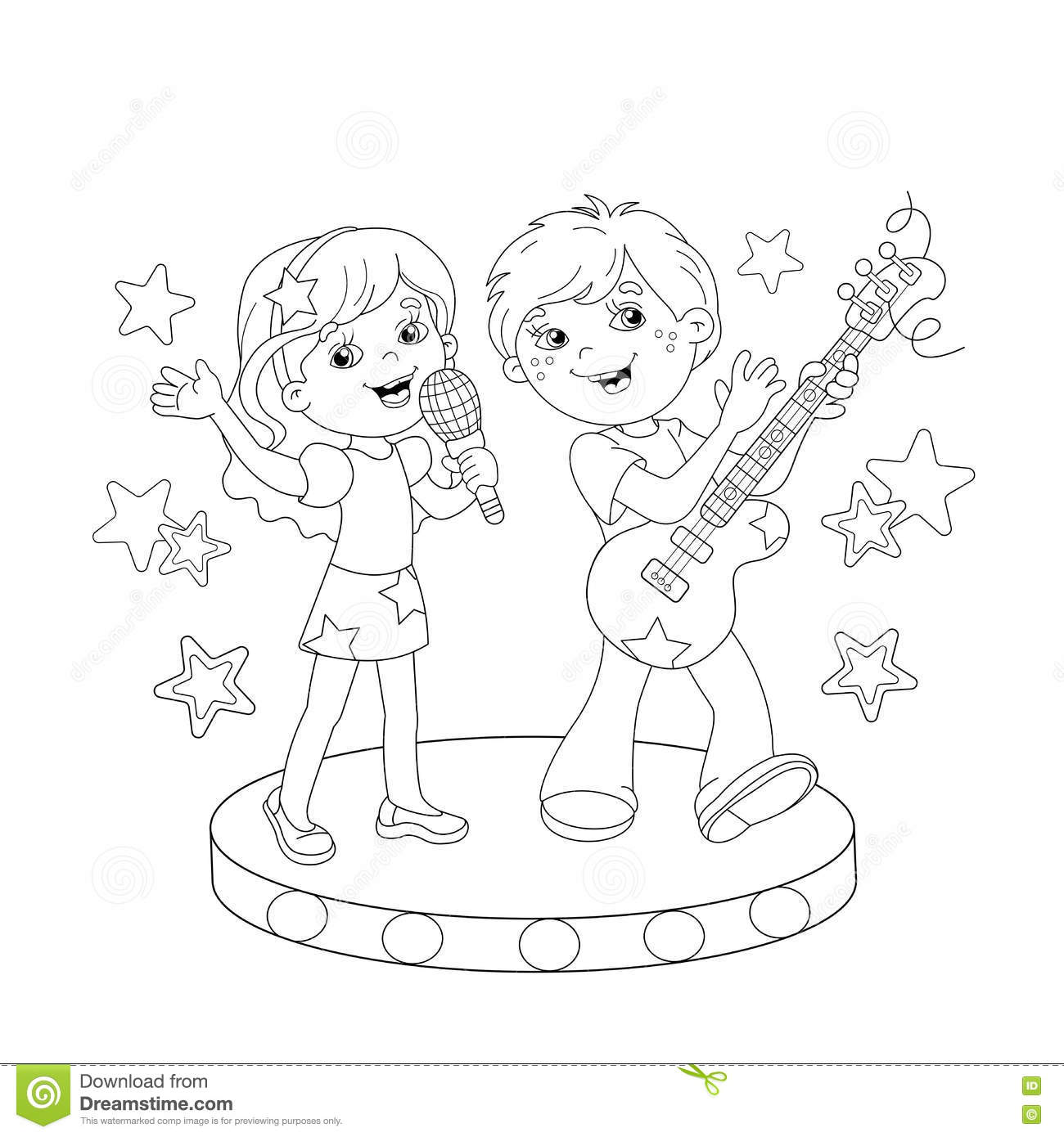 Coloring Page Outline Of Boy And Girl Singing A Song Stock