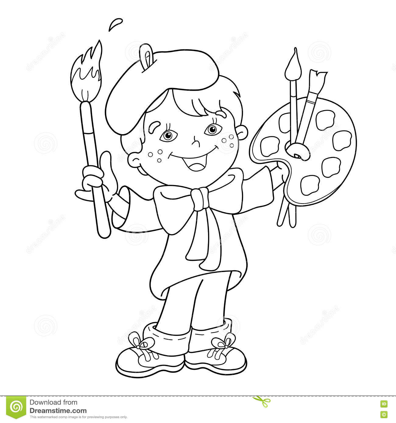 Coloring Page Outline Of Cartoon Boy Artist With Paints