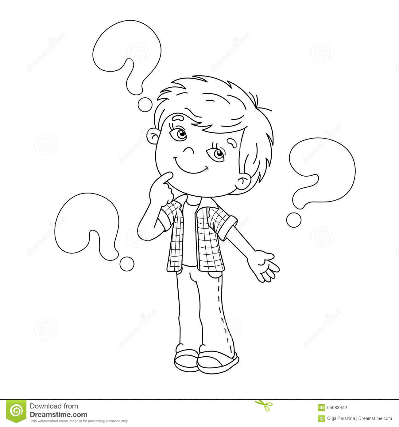 Coloring Page Outline Of Cartoon Boy With The Big
