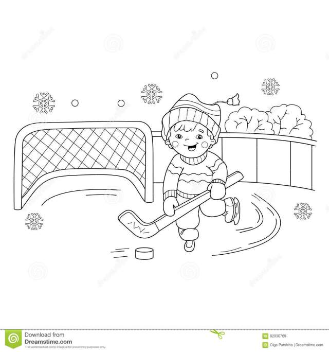 Coloring Page Outline of Cartoon Boy Playing Hockey. Stock Vector