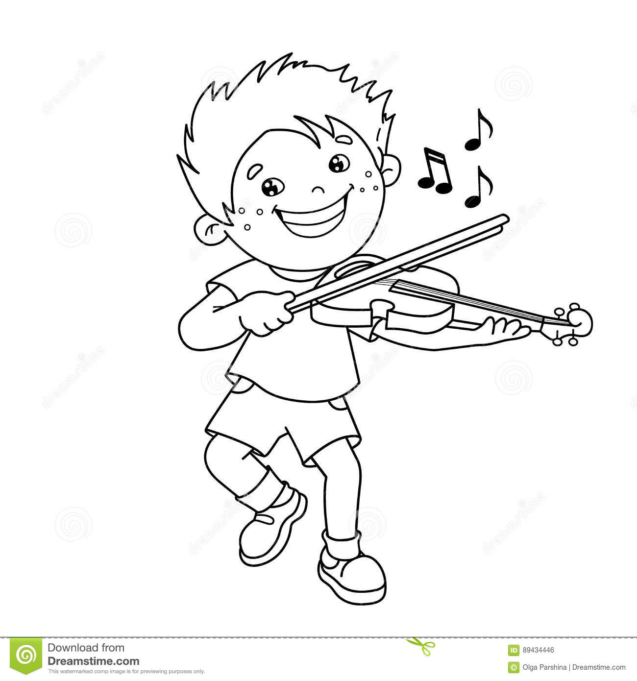 Coloring Page Outline Of Cartoon Boy Playing The Violin Stock