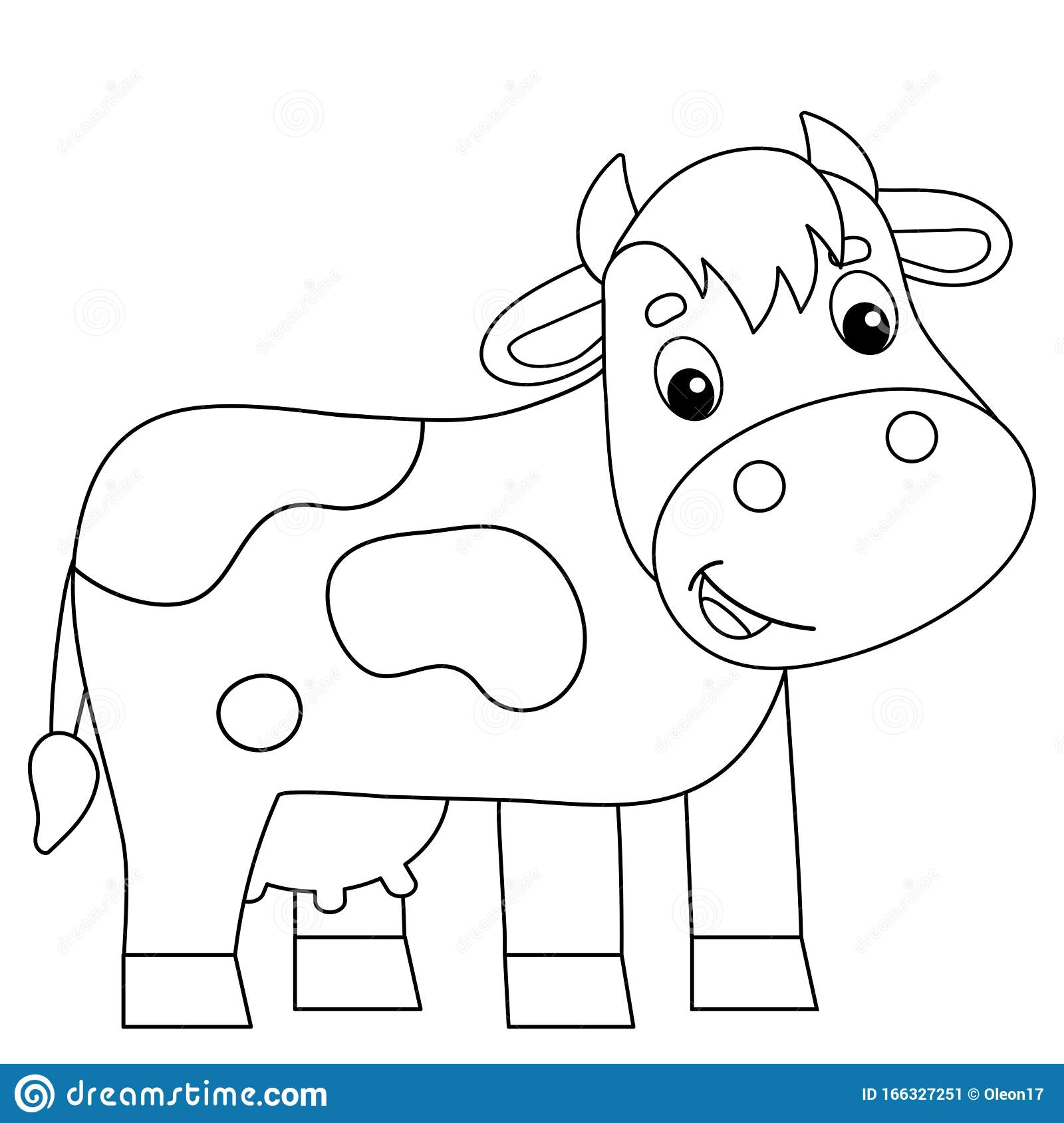 Coloring Page Outline Of Cartoon Cow Farm Animals