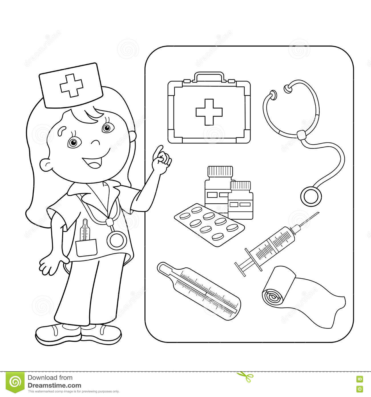 Coloring Page Outline Of Cartoon Doctor With First Aid Kit Stock Vector